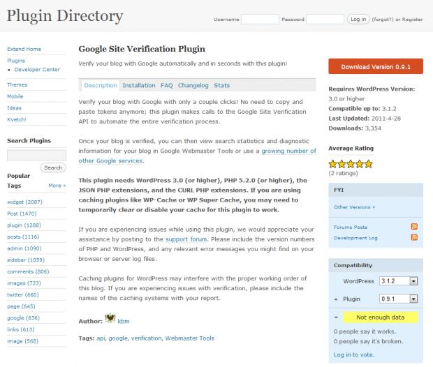 Google Webmaster Tools Plugin