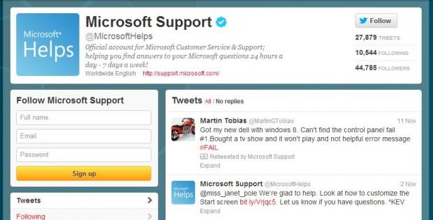 Microsoft Customer Service Twitter
